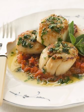 coquille: Pan Fried Scallops Piperade and Garlic Butter