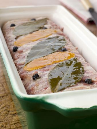 offal: Pate Campagne in a Terrine Mould Stock Photo