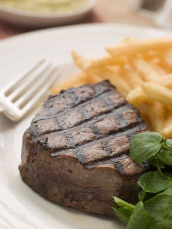 Fillet Steak Frite and Watercress Stock Photo - 3432025