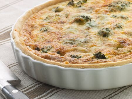 Broccoli and Roquefort Quiche in a Flan Dish photo