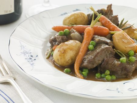 spring lambs: Navarin of Spring Lamb and  vegetables Stock Photo