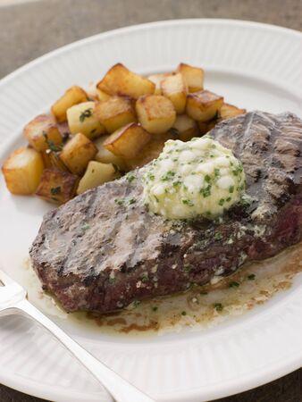 """brasserie restaurant: Entrec�te de Beouf """"avec du beurre de Roquefort et de pommes de terre Parmentier"""