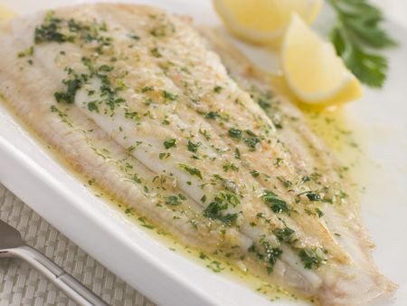 Whole Lemon Sole Meuniere with Lemon and Parsley Garnish Stock Photo - 3431988