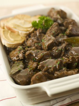 Dish of Beef Carbonnade with Mustard Crouton photo
