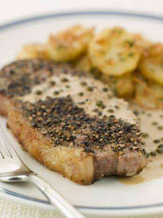 au: Steak au Poirve with Saut Potatoes