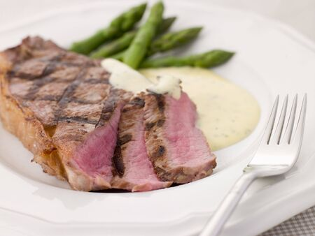 Steak Bearnaise with Asparagus Spears photo