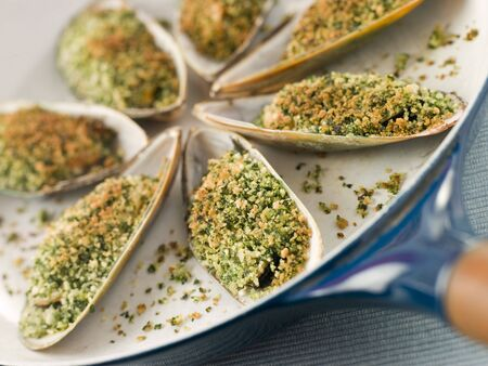 breadcrumbs: Green Lip Mussel with a Provencale Herb Crust