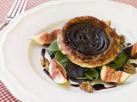 noix: Red Onion Tarte Tatin with Walnuts Figs and Red Wine Syrup