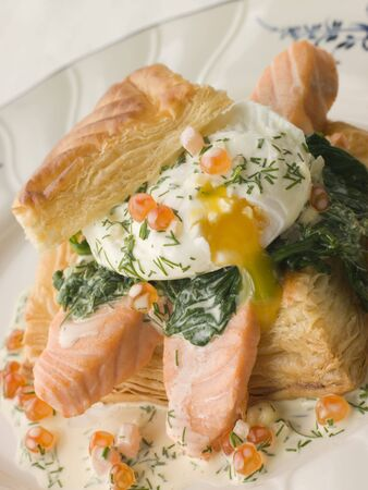 poached: Seared Salmon Spinach and a Poached Egg in a Vol au Vent Case with a Dill and Keta Caviar Sauce