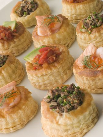 vents: Selection of Cocktail Vol au Vents Stock Photo