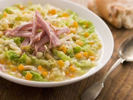 jambon: Cabbage and Bacon Soup with Rustic Bread Stock Photo
