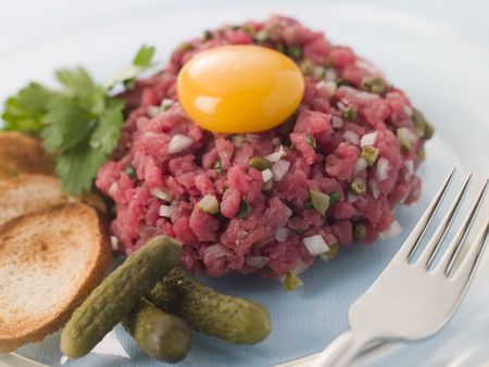 yolk: Steak Tartare with Cornichons, Croutons and an Egg Yolk