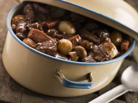 Casserole Dish With Beef Bourguignonne photo