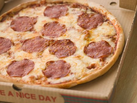 Pepperoni Pizza in a Take Away Box Stock Photo - 3432144