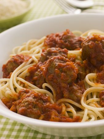 Bowl of Spaghetti Meatballs in Tomato Sauce photo