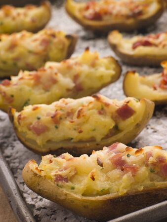 wedges: Stuffed Potato Skins a Tray with Sea Salt