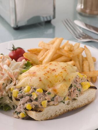 edible fish: Open Tuna and Sweet corn Melt with Coleslaw and Fries Stock Photo