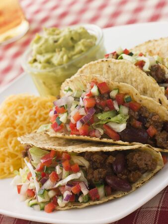 Beef Tacos with Cheese Salad and Guacamole Stock Photo - 3444128