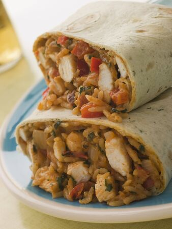 Chicken Rice and Cheese Burrito Stock Photo - 3443805