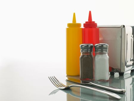 tomato catsup: Diner Table with Sweet Condiments