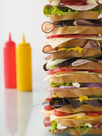 sauces: Dagwood Tower Sandwich With Sauces