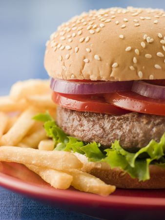 Beef Burger in a Sesame Seed Bun with Fries Stock Photo - 3444127