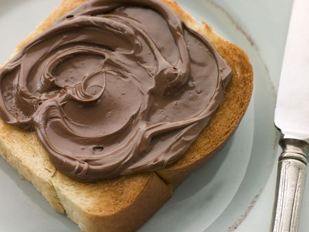 spreads: Slice of Toasted brioche with Chocolate Spread