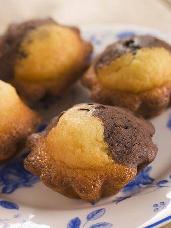 Chocolate and Vanilla Cake cooked in Brioche Tins Stock Photo - 3444273