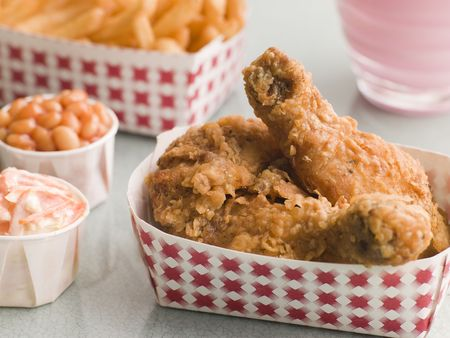childrens food: Southern Fried Chicken Coleslaw Baked Beans Fries and Strawberry Milkshake