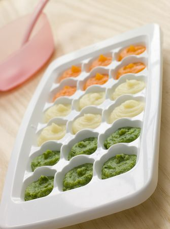childrens food: Pureed  Food in a Ice Cube Tray