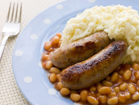 mashed potatoes: Sausage and Mash with Baked Beans