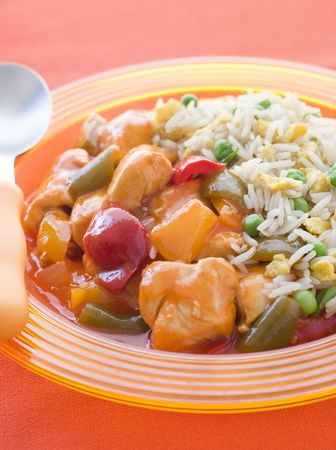 childrens food: Sweet and Sour Chicken with Egg Fried Rice