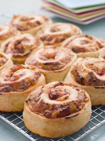 childrens meal: Pizza Bread Scrolls Stock Photo