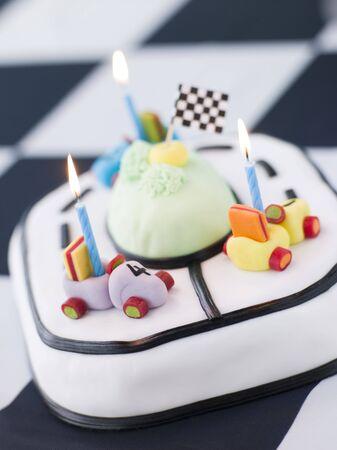 fondant: Auto da corsa torta di compleanno