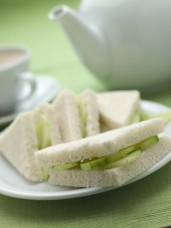 Cucumber Sandwich on White Bread with Afternoon tea photo