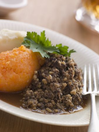 Plate of Haggis Neeps and Tatties