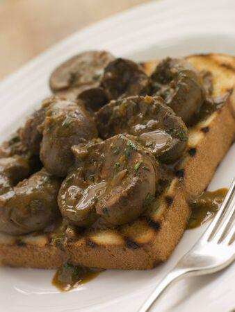 uk cuisine: Devilled Lambs Kidneys on Toast