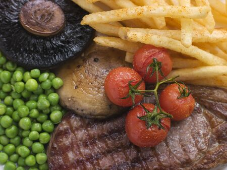 Sirloin Steak Chips and Grill Garnish photo