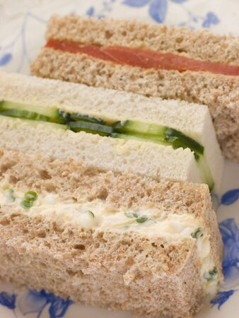 Afternoon Tea Finger Sandwiches- Egg and Cress Smoked Salmon and Cucumber Stock Photo - 3444103