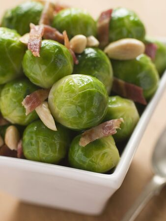 uk cuisine: Brussel Sprouts with Fried Bacon and Almonds