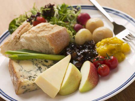 uk cuisine: Stilton and Mature Cheddar Ploughmans