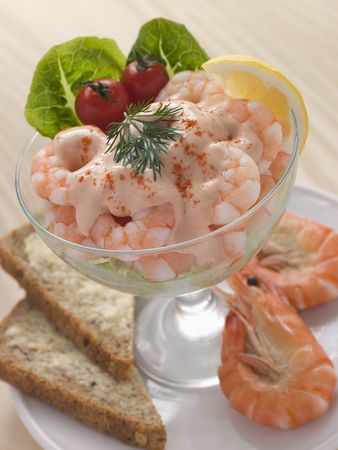 british cuisine: Prawn Cocktail in a glass with Brown Bread