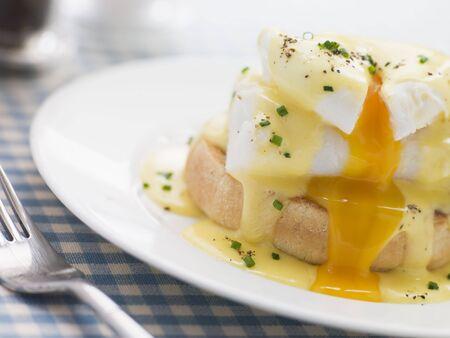 edible fish: Smoked Haddock Eggs Benedict Stock Photo