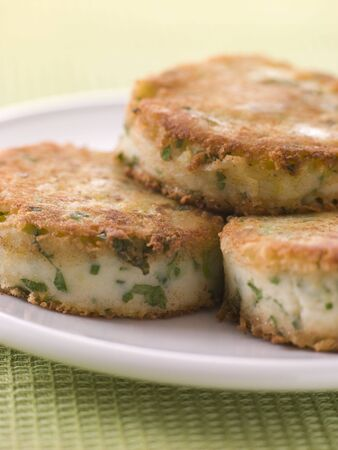 squeak: Plate of Bubble and Squeak cakes
