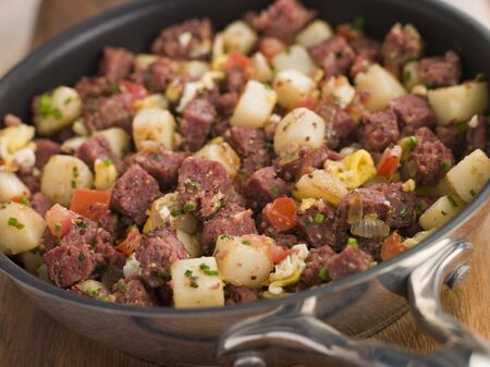hash: Corned Beef Hash in a Frying Pan