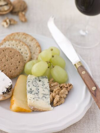 noix: Plate of Cheese and Biscuits with a Glass of Port