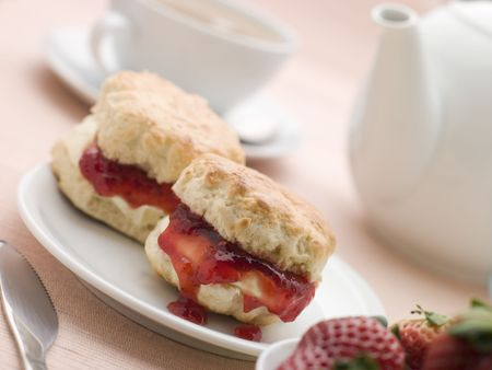 Scones Jam Clotted Cream and Strawberries with Afternoon Tea Stock Photo - 3443485