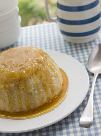 steamed: Steamed Syrup Sponge with a jug of Custard