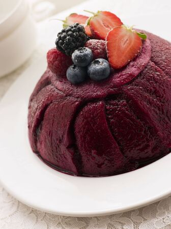 summer pudding: Traditional Summer Pudding Stock Photo