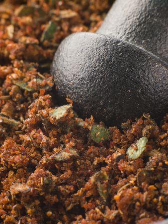 to rub: Cajun Spice Rub in a Pestle and Mortar